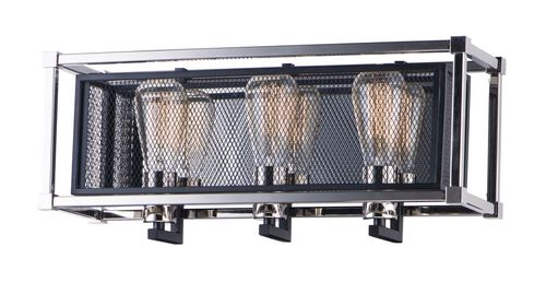 """Refine 20.5"""" 3 Light Wall Sconce in Black and Polished Nickel"""