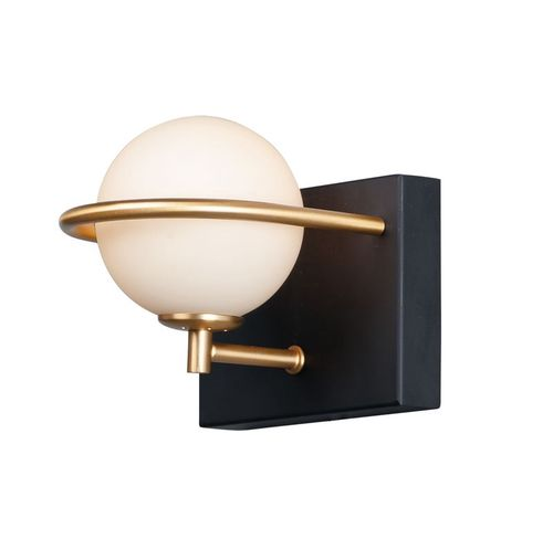 Revolve Single Light Wall Sconce in Black and Gold
