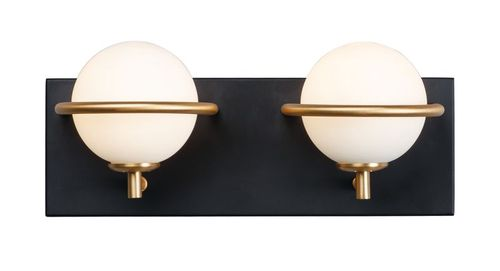 Revolve 2 Light Wall Sconce in Black and Gold