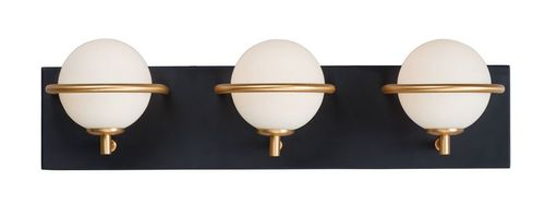 Revolve 3 Light Wall Sconce in Black and Gold