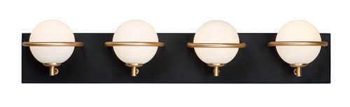 Revolve 4 Light Wall Sconce in Black and Gold