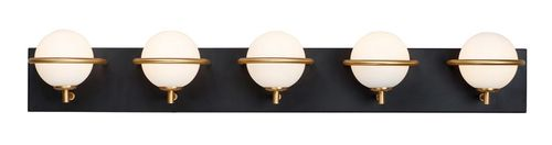 Revolve 5 Light Wall Sconce in Black and Gold