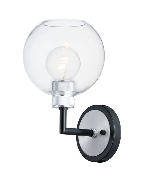 Vessel Single Light Wall Sconce in Black and Brushed Aluminum