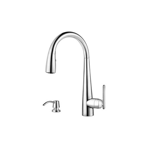 Lita Single-Handle Pull-Down Kitchen Faucet with Soap Dispenser in Polished Chrome