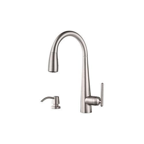 Lita Single-Handle Pull-Down Kitchen Faucet with Soap Dispenser in Stainless Steel