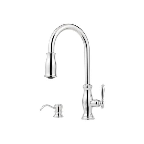 Hanover Single-Handle Pull-Down Three-Function Kitchen Faucet in Polished Chrome