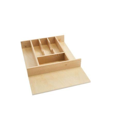 """4WCT Series Natural Maple Wood-Insert Cutlery Tray (14.63"""" x 22"""" x 2.88"""")"""