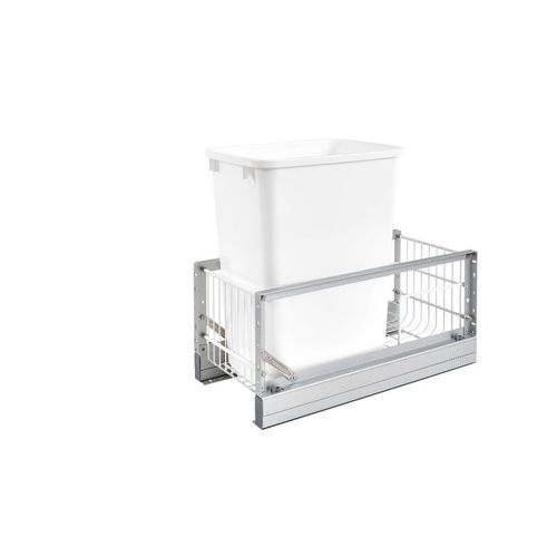"""5349 Series White Bottom-Mount Single Waste Container Pull-Out Organizer (10.75"""" x 21.94"""" x 19.25"""")"""