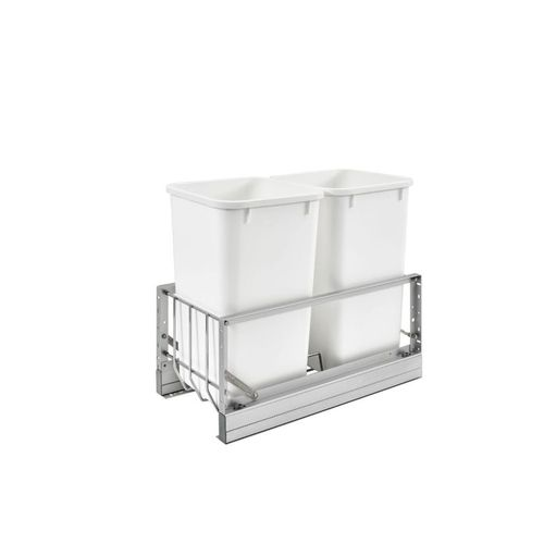 """5349 Series White Bottom-Mount Double Waste Container Pull-Out Organizer (11.69"""" x 22.25"""" x 18.94"""")"""