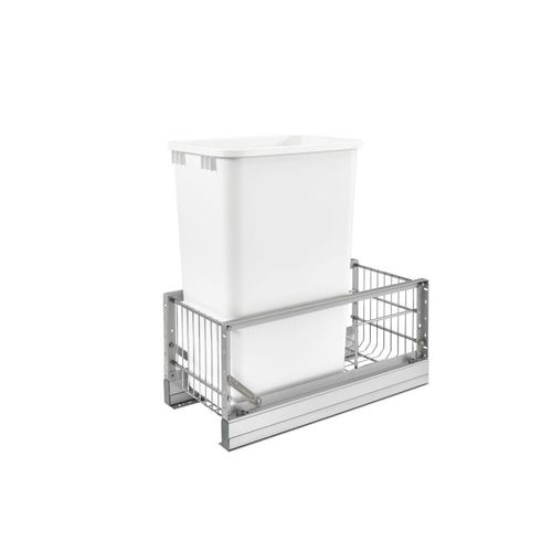 """5349 Series White Bottom-Mount Single Waste Container Pull-Out Organizer (10.75"""" x 21.94"""" x 23.13"""")"""