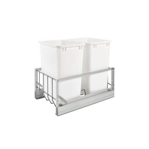 """5349 Series White Bottom-Mount Double Waste Container Pull-Out Organizer (14.81"""" x 21.88"""" x 19.25"""")"""