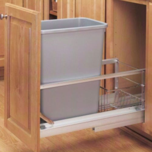 """5349 Series Metallic Silver Bottom-Mount Single Waste Container Pull-Out Organizer (10.75"""" x 21.94"""" x 19.25"""")"""