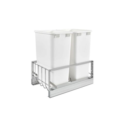 """5349 Series White Bottom-Mount Double Waste Container Pull-Out Organizer (14.81"""" x 22.13"""" x 22.94"""")"""
