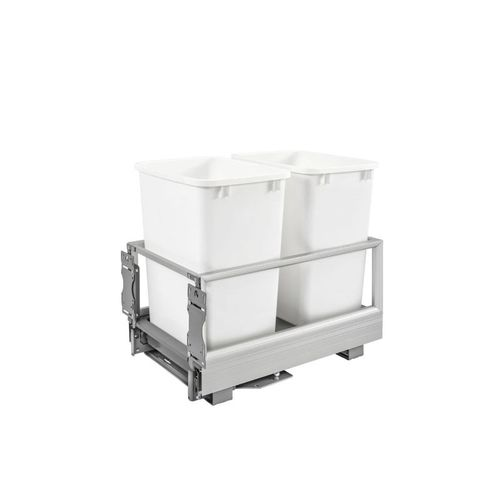 """5149 Series White Bottom-Mount Double Waste Container Pull-Out Organizer (14.19"""" x 22"""" x 19.5"""")"""