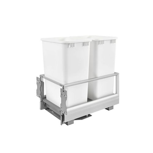 """5149 Series White Bottom-Mount Double Waste Container Pull-Out Organizer (15.63"""" x 22"""" x 23.5"""")"""