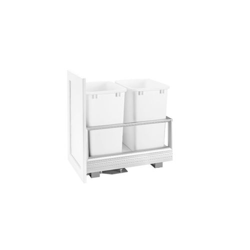 """5149 Series White Bottom-Mount Double Waste Container Pull-Out Organizer (12.13"""" x 22"""" x 19.5"""")"""