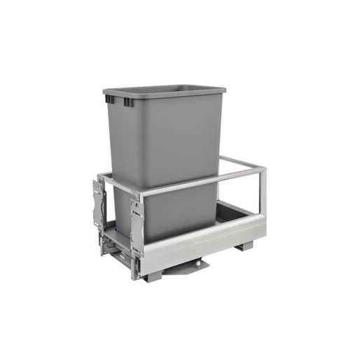 """5149 Series Metallic Silver Bottom-Mount Single Waste Container Pull-Out Organizer (12.13"""" x 22"""" x 23.5"""")"""