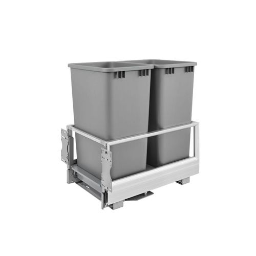"""5149 Series Metallic Silver Bottom-Mount Double Waste Container Pull-Out Organizer (15.63"""" x 22"""" x 23.5"""")"""