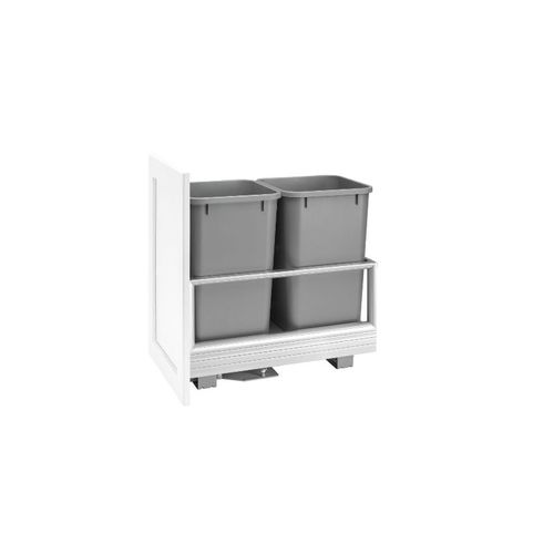 """5149 Series Metallic Silver Bottom-Mount Double Waste Container Pull-Out Organizer (12.13"""" x 22"""" x 19.5"""")"""