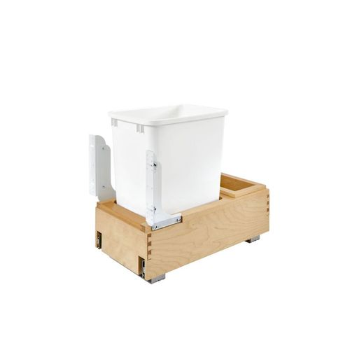 """4WC Series White Undermount Single Waste Container Pull-Out Organizer (11.25"""" x 21.66"""" x 19.25"""")"""