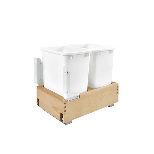 """4WC Series White Undermount Double Waste Container Pull-Out Organizer (14.25"""" x 21.66"""" x 19.25"""")"""