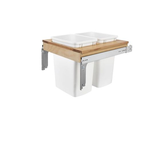 """4WCTM Series White Top-Mount Double Waste Container Pull-Out Organizer (18"""" x 24"""" x 17.88"""")"""