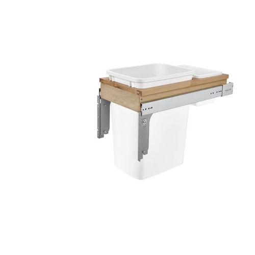 """4WCTM Series White Top-Mount Single Waste Container Pull-Out Organizer (12"""" x 22.75"""" x 17.88"""")"""