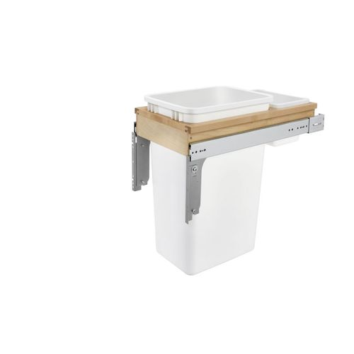 """4WCTM Series White Top-Mount Single Waste Container Pull-Out Organizer (12"""" x 23.25"""" x 21.75"""")"""