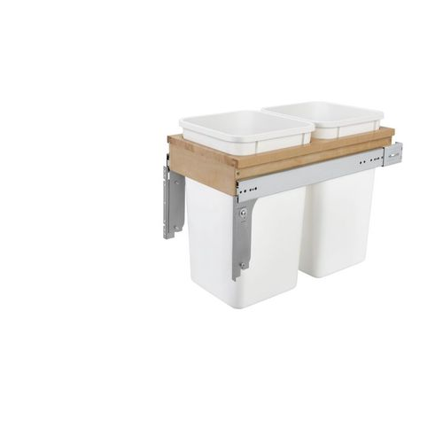 """4WCTM Series White Top-Mount Double Waste Container Pull-Out Organizer (12"""" x 23.25"""" x 17.75"""")"""