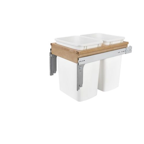 """4WCTM Series White Top-Mount Double Waste Container Pull-Out Organizer (15"""" x 22.75"""" x 17.88"""")"""
