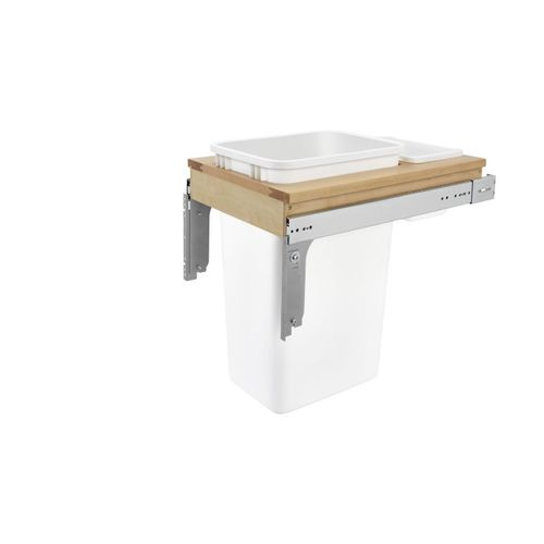 """4WCTM Series White Top-Mount Single Waste Container Pull-Out Organizer (15"""" x 23.25"""" x 21.75"""")"""