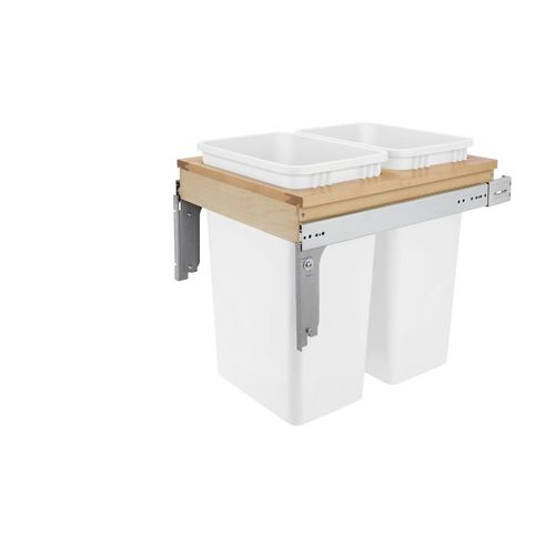 """4WCTM Series White Top-Mount Double Waste Container Pull-Out Organizer (18"""" x 23.25"""" x 21.75"""")"""