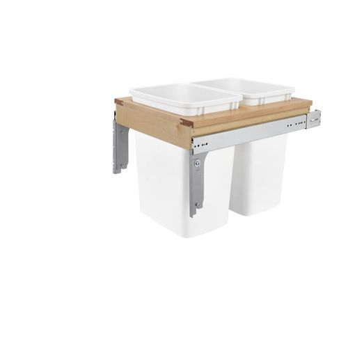 """4WCTM Series White Top-Mount Double Waste Container Pull-Out Organizer (18"""" x 22.75"""" x 17.88"""")"""