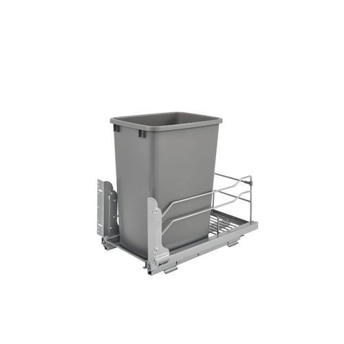 """53WC Series Metallic Silver Undermount Single Waste Container Pull-Out Organizer (10.88"""" x 22.25"""" x 19"""")"""