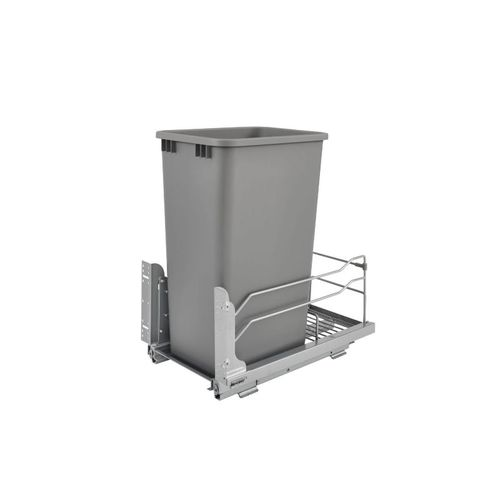 """53WC Series Metallic Silver Undermount Single Waste Container Pull-Out Organizer (10.88"""" x 22.25"""" x 23"""")"""