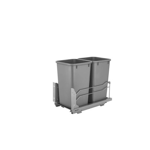"""53WC Series Metallic Silver Undermount Double Waste Container Pull-Out Organizer (11.25"""" x 22.09"""" x 19"""")"""