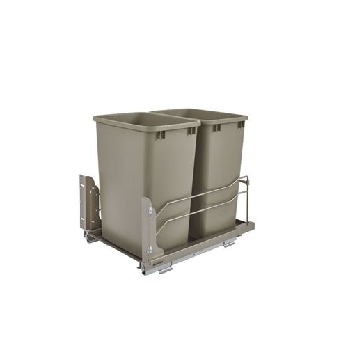 """53WC Series Champagne Undermount Double Waste Container Pull-Out Organizer (14.38"""" x 22.25"""" x 19"""")"""