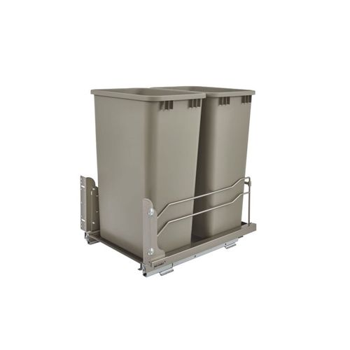 """53WC Series Champagne Undermount Double Waste Container Pull-Out Organizer (14.75"""" x 22.25"""" x 23"""")"""