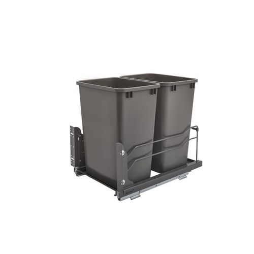 """53WC Series Orion gray Undermount Double Waste Container Pull-Out Organizer (14.38"""" x 22.25"""" x 19"""")"""