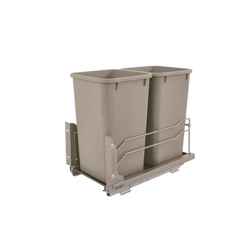 """53WC Series Champagne Undermount Double Waste Container Pull-Out Organizer (11.25"""" x 22.09"""" x 19"""")"""