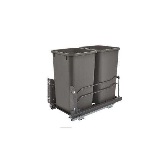 """53WC Series Orion gray Undermount Double Waste Container Pull-Out Organizer (11.25"""" x 22.09"""" x 19"""")"""