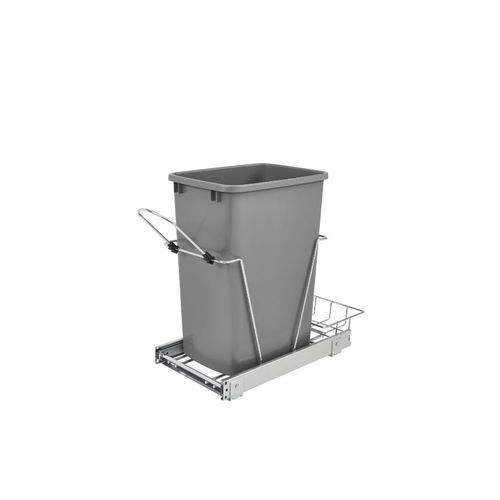 """RV Series Metallic Silver Bottom-Mount Single Waste Container Pull-Out Organizer (10.63"""" x 22"""" x 19.25"""")"""