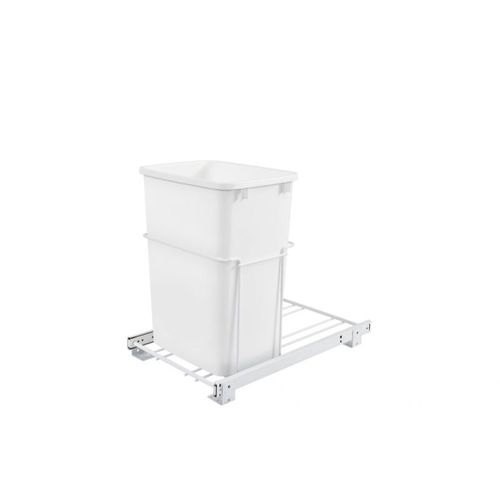 """RV Series White Bottom-Mount Single Waste Container Pull-Out Organizer (14.38"""" x 22"""" x 19.25"""")"""