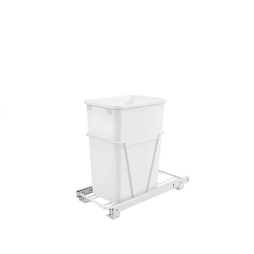 """RV Series White Bottom-Mount Single Waste Container Pull-Out Full-Extension (10.63"""" x 22"""" x 19"""")"""