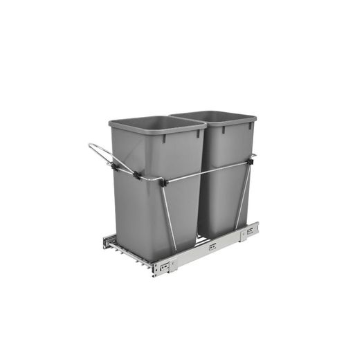 """RV Series Metallic Silver Bottom-Mount Double Waste Container Pull-Out Organizer (11.81"""" x 22.25"""" x 19.25"""")"""