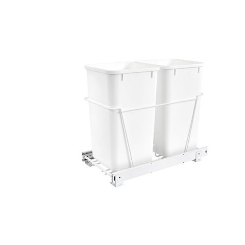 """RV Series White Bottom-Mount Double Waste Container Pull-Out Organizer (11.81"""" x 22.25"""" x 19.13"""")"""