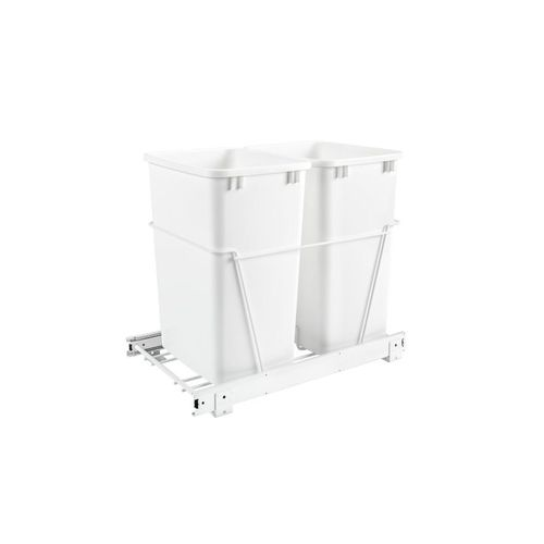 """RV Series White Bottom-Mount Double Waste Container Pull-Out Organizer (14.38"""" x 22"""" x 19.25"""")"""
