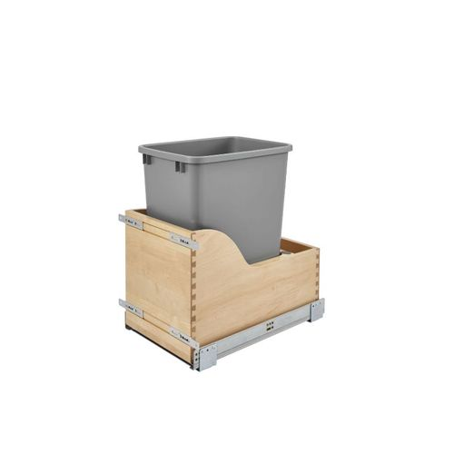 """4WCSC Series Metallic Silver Bottom-Mount Single Waste Container Pull-Out Organizer (12"""" x 18.63"""" x 19.5"""")"""