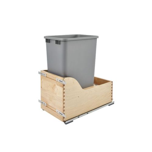 """4WCSC Series Metallic Silver Bottom-Mount Single Waste Container Pull-Out Organizer (12"""" x 21.75"""" x 23.38"""")"""