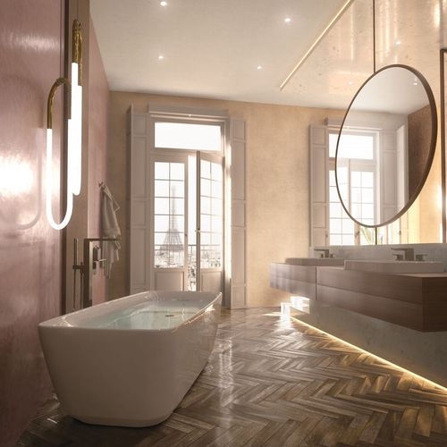 toto Galaline Reinforced Marble Freestanding Bathtub in Glossy White